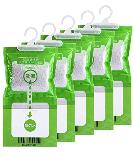 5 Pack Kitchen Bathroom Wardrobe Hanging Hygroscopic Anti-Mold Deodorizing Moistureproof Desiccant Bag, Dehumidification Process Could be Witness