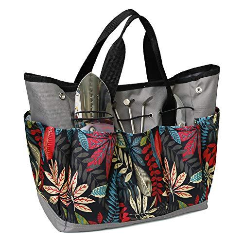 MDSTOP Canvas-Gartenwerkzeug-Tragetasche, robuste Gartentasche, für Gemüse, Kräuter, Garten, Handwerkzeug, mit 8 Taschen und Ledergriff, Werkzeuge nicht im Lieferumfang enthalten (rot)