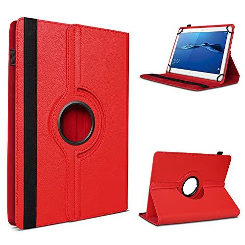 UC-Express Schutzhülle kompatibel für Huawei MediaPad T1 T2 T3 7.0 aus Kunstleder Hülle Tablet Tasche Standfunktion 360 Drehbar Cover Universal Hülle, Farben:Rot