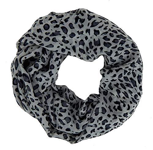 Ella Jonte kleiner Loop Leopard grau 100% Viskose Schal Animalprint