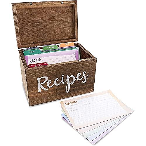 Juvale Rezeptbox aus Holz mit Rezeptkarten und Trennblättern (1 Set) - Aufdruck auf Englisch - Ideal für Küche, als Geschenk - Braun, 18 x 12,7 x 11,9 cm