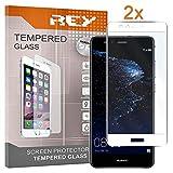 REY 2X Protector de Pantalla 3D para Huawei P10 Lite, Blanco, Protección Completa, 3D / 4D / 5D
