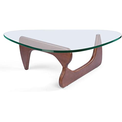Amazon Com Rimdoc Triangle Glass Coffee Table Vintage Glass End Table Solid Wood Base And Triangle Clear Glass Top Modern End Table For Living Room Patio Study Dark Walnut Kitchen Dining