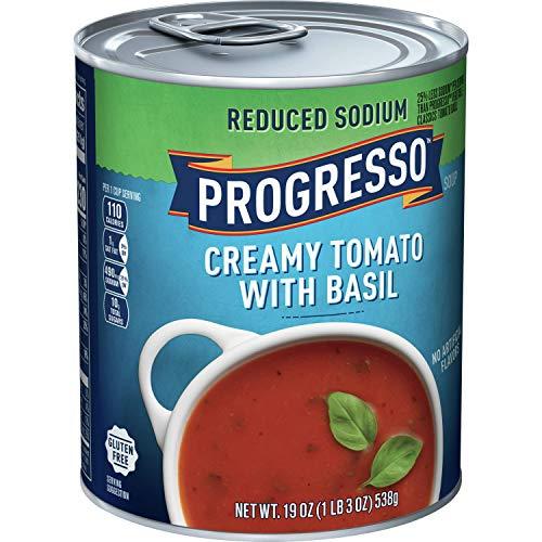 Progresso Reduced Sodium, Creamy Tomato Basil Soup, Gluten Free, 6 Cans, 19 oz