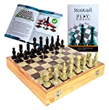StonKraft - 10' X 10' Chess Board with Wooden Base & Stone Inlaid & Stone Pieces Game Set