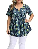Allegrace Women's Plus Size Floral Blouses Henley V Neck Button Up Tunic Tops Ruffle Flowy Short Sleeve T Shirts P46 Pineapple Dark Blue 4X