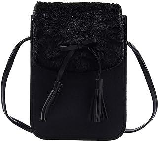 Ultramall Women's Fashion Patchwork Tassel Plush Hasp Mobile Coin Purse Bag Shoulder Bag For Women