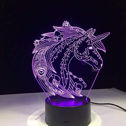 Night Light 3D Beautiful Unicorn Hore Birthday Chritma Bet for Toys Regalos de Navidad de cumpleaños