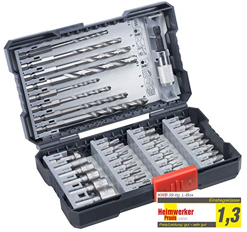 kwb 108960 39-teilige Bohrer-Box m. Sechkant-Schaft, HSS Metallbohrer, 4 x Steinbohrer und Bits PH, PZ u. TX im Set inkl. Senker, Bithalter u. Steckschlüsselbits
