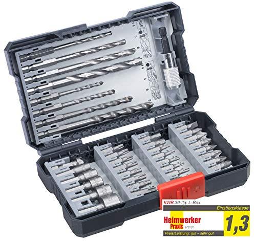 kwb 108960 39-teilige Bohrer-Box m. Sechkant-Schaft, HSS Metallbohrer, 4 x Steinbohrer und Bits PH, PZ u. Torx im Set inkl. Senker, Bithalter u. Steckschlüsselbits