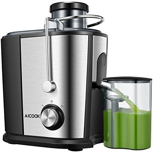 Juicer Wide Mouth Juice Extractor, Aicook Juicer Machines BPA Free Compact Fruits & Vegetables Juicer, Dual Speed Centrifugal Juicer with Non-drip Function, Stainless Steel Juicers Easy to Clean