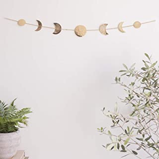 Moon Decor Wall Decorations | Boho Accents Wall Decor | Moon Phases Wall Art | Moon Phase Wall Hanging | Bohemian Decor for Bedroom, Home, Living Room, Apartment or Dorm (Banner, Gold Metal)