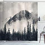 Ambesonne National Parks Shower Curtain, Canadian Smokey Mountain Cliff Outdoors Idyllic Scenery Photo Artwork, Cloth Fabric Bathroom Decor Set with Hooks, 70' Long, Black White