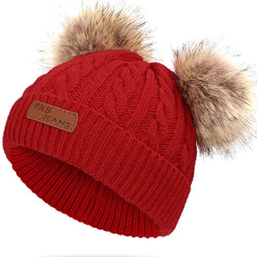 JFAN Sombrero de Invierno Bufanda para Niños Gorro de Punto para Bebés y Niños Pequeños Gorro de Invierno con Color Puro Sombrero de Doble Pompón para Niñas y Niños(B-Rojo,Talla única)