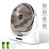 Powerful Desk Fan USB, 4000mAh Battery Operated Small Desk Fan, Portable Personal Mini Table Fan with USB...