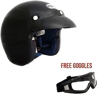 Motorcycle 3/4 Open Face Helmet Snap On Visor Street Cafe Racer DOT (Large, Black) + FREE Goggles