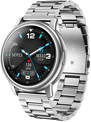 Reloj Inteligente Fitness Tracker Reloj Hombre Reloj de Pulsera IP68 Impermeable Hombres Fitness Pulsera Pulsera Inteligente BT5.0 Hombres s Relojes para Android IOS Negro-Plata