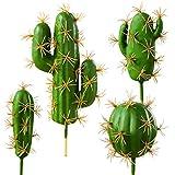 FagusHome 4 Piezas Plantas Suculentas Artificiales Cactus Artificiales Tallos de Cactus Falsos Plantas para Decoraciones (4)