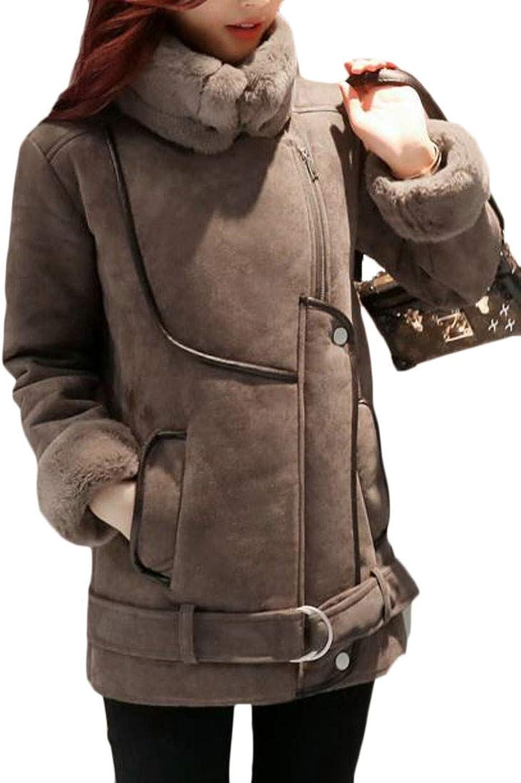 Joe Wenko Women Lapel Fleece Warm Sueded Winter Parka Coat Jacket Outwear