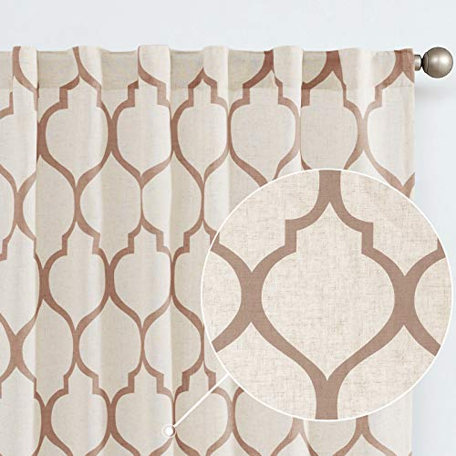 jinchan Linen Textured Curtains Moroccan Tile Printed Curtain Panels Bedroom Living Room Lattice Rod Pocket Back Tab Window Treatment 2 Panel Drapes 95 Inches Long Taupe on Beige