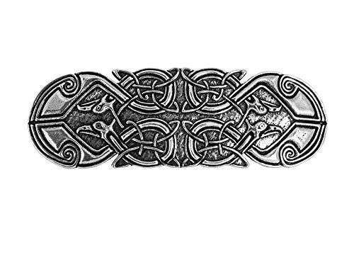 Celtic Peacock Hair Clip, Medium Hand Crafted Metal Barrette Made in the USA with a 70mm Imported French Clip by Oberon Design