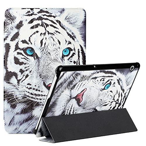 ShinyCase Compatible con Huawei MediaPad T5, PU Cuero Flip Protectora Carcasa con Función de Soporte Tablet Funda para Huawei MediaPad T5/AGS2-W09, AGS2-W19, AGS2-L09,Tigre Blanco