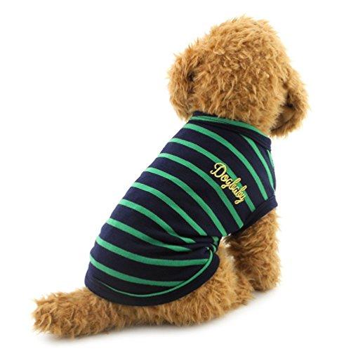 smalllee_lucky_store Piccolo Cane Vestiti Nero Stripe Maglia del Cotone Doggy Camicie Abbigliamento Costume, Large, Verde