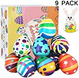 SEETOYS 9 Pack Jumbo Squishies Eggs Novelty Slow Rising Easter Pack Gift Squeeze Stress Relief Easter Basket Stuffers Toys Party Favors for Kids