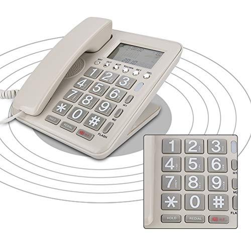 Tangxi Teléfono con Cable, Extensión Fija de Doble Puerto Teléfono Fijo con Pantalla de Identificación de Llamadas + Altavoz, Contestador Automático con Pantalla LCD para el Hogar/Oficina