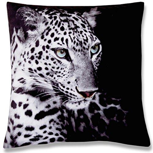 Bestlivings Dekokissen Fotodruck Motiv in 40x40 cm, Flauschig weiches Kissen in vielen Motiven erhältlich (Design: Leopard)