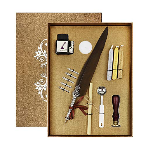 Agirlgle Calligraphy Pens Set, Dip Pen Kit with Feather Quill Pen, Black Ink, 5 Nibs, 3 Wax Seal Sticks, White Wax, Seal Stamp, Wax Warmer Melting Spoon, Writing Paper in Gift Box (14pcs)