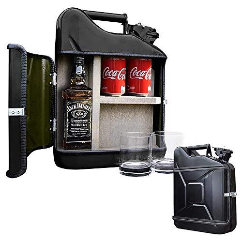mikamax – Jerrycan Giftset – Whisky Geschenkset – Whiskybar – Jack Daniels Canister – 10L – Schwarz – Mit Zwei Whiskey Gläsern – Maße: 39 x 29 x 13 cm – Geschenke fur männer