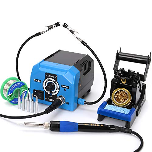 Soldering Iron Station 60W Solder station 392ºF~896ºF Adjustable with 5Extra Solder Tips2 Helping Hands with alligator clipsand A roll of 50G no Pb solder wire