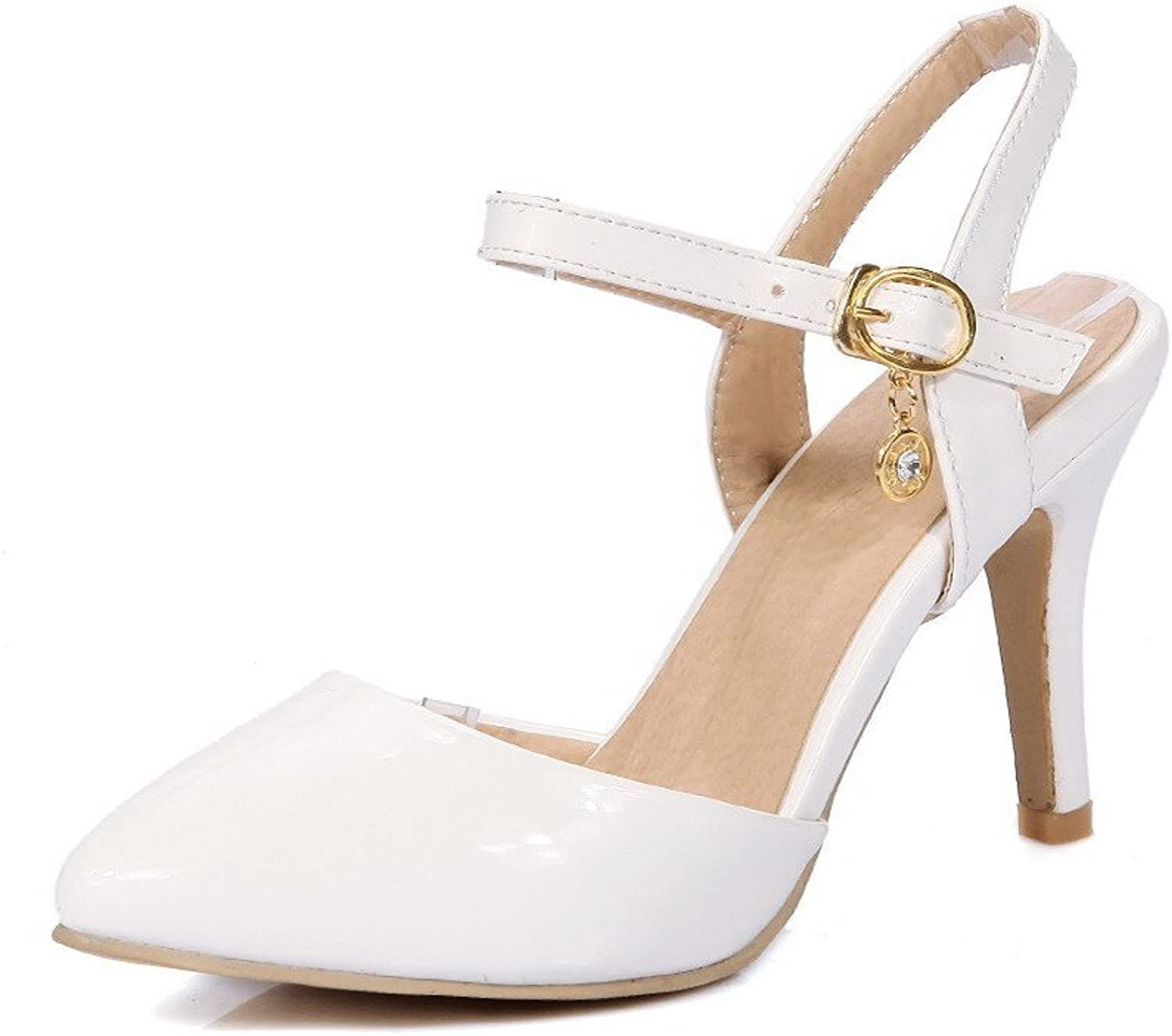 WeenFashion Women's Spikes Stilettos Patent Leather Solid Buckle Closed Toe Heeled-Sandals