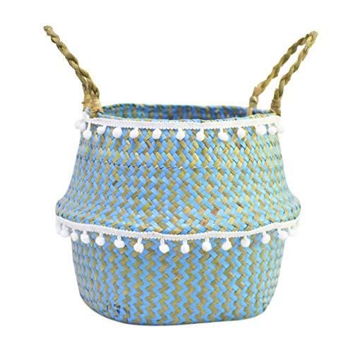 Szetosy - Cesta de junco para almacenamiento de Goodchance UK, con pompones. Cesta plegable tejida y con asa para ropa, juguetes, plantas o para usar en el cuarto del bebé, Estilo#2, 22 x 20 cm
