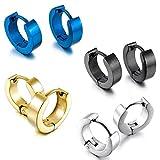 Fransande Acero Inoxidable Semental Aro Hoop Huggie Pendientes Plata Negro Azul Oro Clasico Encanto Atractivo Elegante ( 4 Pares  Hombre
