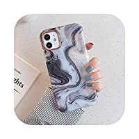 HWOZ for iPhone 12 Mini 12 11 Pro Max XR X XS Max 7 8 Plus SE2020ソフトIMDバックカバー用水彩金メッキ大理石電話ケース-a-for iPhone 11