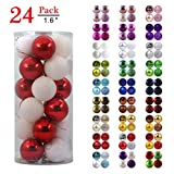 GameXcel Christmas Balls Ornaments for Xmas Tree - Shatterproof Christmas Tree Decorations Perfect Hanging Ball Red & White 1.6' x 24 Pack