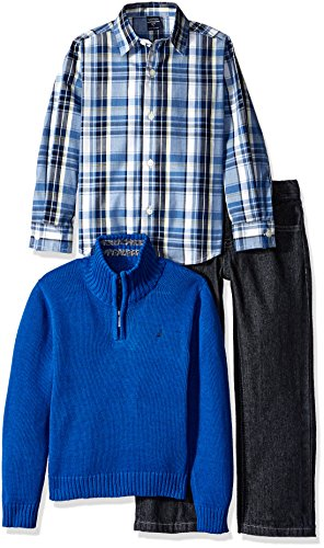 Nautica Little Boys Three Piece Set with Woven Shirt Quarter Zip Sweater and Pant, Medium Blue, Small/4