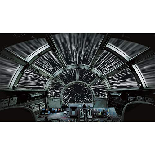 RoomMates Star Wars Millennium Falcon Peel and Stick Wallpaper Mural | Removable | Black Wall Mural