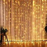 CREASHINE 3x3m 300 LED Cortina de Luces LED, Blanco Cálido, Resistente al Agua,...