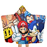 Olicsley Super Smash Bros Smile Pretty Sonic Mega Man Mario Hooded Beach Towel with Hood Beach Bath Towels for Travel Camping Pool Towels On Beach Cart Beach Chairs 51.5 X 32 Inch
