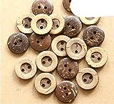 50 unids/lote Tamaño: 13 mm-18 mm Botones redondos de coco 2 agujeros Botón de madera para coser álbumes de recortes (SS-111) -18 mm