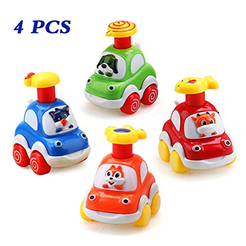 Amy & Benton Set Auto Giocattolo per Bambini, Assortiti 4PCS Set Cartoni Animati per Auto Giocattolo Regolabili per Bambini 1 2 3 4 Anni