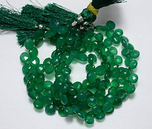 World Wide Gems Beads Gemstone Half Strand Green Onyx Heart Shape Beads, Onyx Faceted Heart Briolettes, Gemstone For Jewelry, 9mm Approx, 4 Inch Strand Code-HIGH-30698