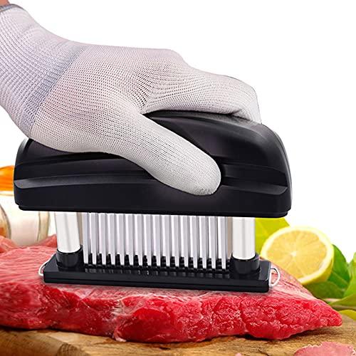 Lrxinki Ablandador de carne con 48 cuchillas afiladas de acero inoxidable y cepillo de limpieza, herramienta de cocina manual de alta calidad para carne, carne de vacuno, pollo, carne de cerdo (negro)