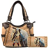 Zelris Dakota Dales Pony Horse Embroidery Mane Western Country Women Tote Purse with Matching Wallet Set (Tan)