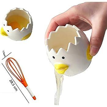 CUGBO ヒヨコちゃんの卵白分離器 陶磁品 黄身取り器 卵白セパレーター エッグセパレーター キレイに分離できる かわいい 鶏型 泡立て器付き