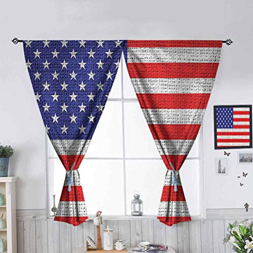 Hiiiman Fashion Design Curtain Drape Burlap Looking and Retro Vintage W55 x L45 with Rod Pocket for Kids Room