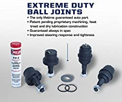 Warrantied for life Increased Feel and Axle Performance Eliminates ball joint deflection Note: may not fit vehicles which have had knurled style ball joints previously installed Made in the USA